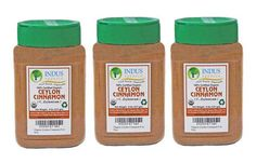Indus Organic Premium True Ceylon Cinnamon Powder (3 Jars of 8 Oz), Freshly Packed