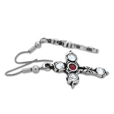 Earrings shaped as a Celtic cross with crystals