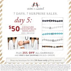 Day 5 of #7SurpriseSales is here! For 24 hours only, shop our signature 3-in-1 necklaces for just $50 (originally $98+)!