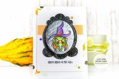 Halloween card with Pretty Pink Posh Decorative Tag Die 1. Copics used – Hat: V09,BV04,BV34,RV,34. Face: N4,YG17,G94,G43,YG11. Hair: YR09,YR07,YR16,Y38,E37.
