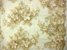 Flower Appliques on Embroidered Tulle