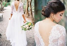 Mirabelle Gown / Bohemian Wedding Gown / Elegant Deep V Plunge Back/ Bohemain Wedding / Custom Made Listing