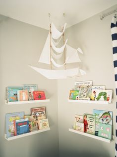 This sailing ship kite is perfection in this nautical nursery!