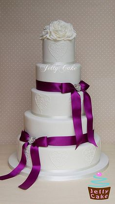 Purple Bows and Hearts Wedding Cake