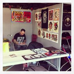 @chrisxempire (Instagram) getting ready to start tattooing at the London International Tattoo Convention, 2013. What a great convention, filled with amazing artists, in such a fun city!