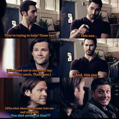 Sterek, Stiles Winchester this is like one of my fav crossovers Teen Wolf Quotes, Teen Wolf Funny, Teen Wolf Memes, Supernatural Imagines, Supernatural Funny, Destiel, Supernatural Crossover, Teen Wolf Ships, Vampires And Werewolves