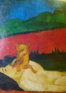 Frau mit Hund im Bunt