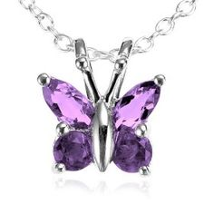 "Sterling Silver Amethyst Butterfly Pendant, 18"".  List Price: $49.99  Sale Price: $15.99  More Detail: http://www.giftsidea.us/item.php?id=b000mfgn68"