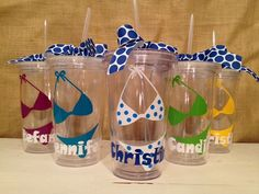 Customizable Tumblers for party favors - lots of choices, including size and color of cup, design, font and topping