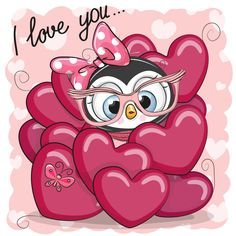 Valentine card with Cute Cartoon Puppy Girl in hearts Owl Cartoon, Cute Cartoon, Owl Art, Cute Owl, Dog Photos, Cute Drawings, Cute Wallpapers, Emoji, Cute Pictures