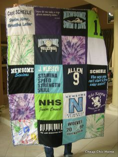 T-Shirt Quilt. I plan on making each one of my kids one of these one day. I'm already saving all of their school shirts, ball shirts, cheerleading shirts, etc. =) Such a cool graduation gift for them to take to college @Marina Zlochin Zlochin Zlochin
