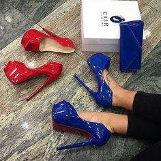 Blue & Red Lack Heels #fashion #fashiondiaries #fashionista #туфли…