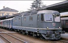 "SBB 11601 ""Wolhusen"" a Bellinzona il 15 aprile 1988 SBB 11601 ""Wolhusen"" in Bellinzona on the of April Railroad Pictures, Swiss Railways, Train Art, Old Trains, Rolling Stock, Electric Locomotive, Train Journey, Train Tracks, Vintage Trucks"