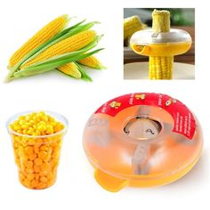 One Step Corn Stripper. Easy, Safe, and Fun! Get fresh corn kernels with one easy push Detachable One-step Corn Kerneler Kitchen Tool Kitchen Helper, Buy Kitchen, Small Kitchen Appliances, Kitchen Items, Kitchen Things, Cooking Gadgets, Cooking Timer, Cooking Recipes, Storage Sets