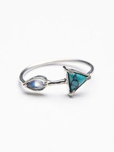 Radiation Ring | Delicate sterling silver ring featuring a triangular shaped turquoise stone and an oval rainbow moonstone.   *By Ono