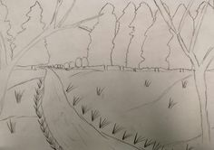 Title: One-Point Perspective Drawing Medium: Graphite I used one-point perspective to make a path in the woods with a vanishing point in the center.