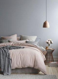 Comfy Scandinavian Bedroom Interior Design - Page 17 of 35 Gray Bedroom Walls, Silver Bedroom, Comfy Bedroom, Small Bedroom Designs, Modern Bedroom Design, Scandinavian Bedroom, Scandinavian Interior Design, Scandinavian Style, Modern Interior
