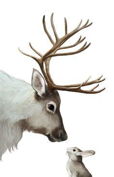 iPhone XS Max Case - reindeer and rabbit by Laura Graves Reindeer Face Paint, Reindeer Drawing, Reindeer Makeup, Cartoon Reindeer, Reindeer Costume, Reindeer Tattoo, Reindeer Handprint, Reindeer Footprint, Reindeer Names