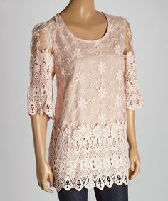 Look what I found on #zulily! Peach Lace Silk-Blend Blouse by Pretty Angel #zulilyfinds