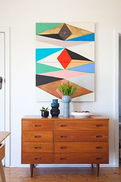 Mid Century Modern Dresser as Living Room Storage ~ Mary Wald's Place