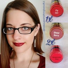 1x Fly Girl and 2x Sheer Berry LipSense combo with Bougainvillea gloss for a dark red lipstick. #lipsense #senegence #flygirl #sheerberry #combo #bougainvillea #gloss #lipstick #shadowsense #mocajava #garnet #eyeshadow #tintedmoisturizer #Papparazzi #jewelry #smudgeproof #kissproof #leadfree #madeintheusa