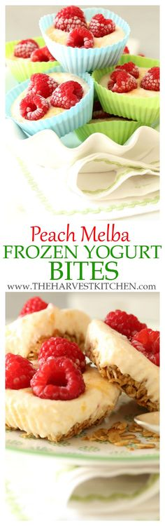 These Peach Melba Frozen Yogurt Bites make a refreshing and nutritious snack, dessert, or even quick breakfast on the run. This healthy Greek yogurt recipe is totally skinny and completely healthy. No ice cream machine required.