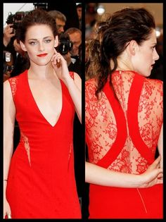 Cosmopolis Premiere #Kristen Stewart ***she looks stunningly sexy in this bright crimson Reem Acra (pre-Fall 2012 ) crepe gown