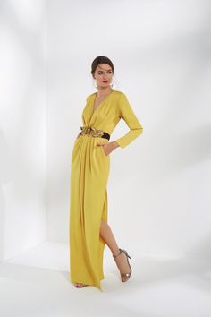 Vestido de fiesta. Vestido amarillo Vestidos De Invierno d5e0bc23802d