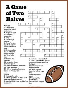 Free printable football crossword is fun for both adults and kids. Twenty-five clues. Great for a Super Bowl party printable.