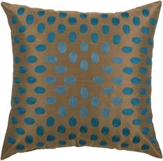 """Pillow cover with Hidden Zipper and Poly Filler Insert<br><br><b>Product Details:</b><br>Size (in.): 18"""" x 18""""<br>Fabric: Poly Slub <br>Fabric Content: Front/Back: 100% Polyester  <br>Construction: Embroidered Details<br>Primary Color: Peacock Blue<br>Secondary Color: Brown<br>Care & Cleaning: Dry Clean Only<br>Country of Origin: India $47.50"""