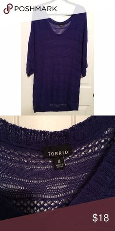Torrid Dark Blue Knitted Top Size 4X This short sleeved knitted top is great for the summer! Could layer over a bright tank for a pop of color! Size 4X OFFERS WELCOME!! torrid Tops