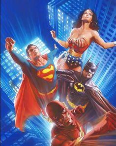 Christopher Reeve Superman, Michael Keaton Batman, Lynda Carter Wonder Woman & John Wesley Shipp Flash by Alex Ross