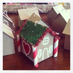 mini gingerbread house ornament: paper straw candycanes, white marker, pipecleaner tinsel House Ornaments, Paper Straws, Marker, Gingerbread, Christmas Crafts, Gift Wrapping, Craft Ideas, Mini, Gifts