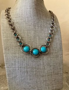 Turquoise Necklace, Beaded Necklace, Leaf Pendant, Handmade Sterling Silver, Metal Jewelry, Czech Glass, Spiral, Vintage Items, Handmade Items