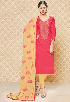 Poly Cotton Straight Kameez in Coral Pink This Semi-stitched Attire is Beautifully Embroidered with Resham, Stone and Patch Border Work Available with a Poly Cotton Churidar and a Faux Chiffon Dupatta in Beige The Lengths of the Kameez and Bottom are 40 and 42 inches respectively.  Do note: Bottoms and Accessories shown in the image are for presentation purposes only and length may vary upto 2 inches.(Slight variation in actual color vs. image is possible).