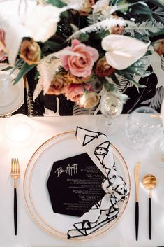 Modern Parker Palm Springs Wedding Tablescape Inspiration and Geometric Menu