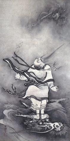 雪村周継『呂洞賓図』一幅