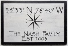 "Custom Latitude / Longitude with Personalized Text - 24"" x 16"" Sign"