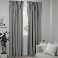 Explore our range of curtains at IKEA. We have everything from bedroom curtains, to ready made curtains and more. Grey Walls Living Room, Dark Curtains, Grey Curtains, Light Gray Bedroom, Curtains, Block Out Curtains, Dark Grey Curtains, Curtains For Grey Walls, Room Darkening Curtains