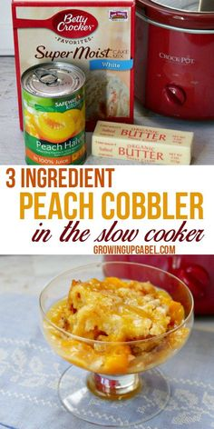 This easy slow cooker peach cobbler is made with just 3 ingredients - a cake mix, canned peaches and butter! It is ready in just a few hours.