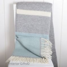 Throws for the table? Duck Egg Blue Tweedmill Illusion Panel Throw in Pure New Wool, light blue, grey and cream Duck Egg Blue Bed Throw, Duck Egg And Grey Bedroom, Duck Egg Blue Grey, Cream And Grey Bedroom, Duck Egg Blue Living Room, Blue And Pink Living Room, Cream Living Rooms, Living Room Grey, Cream Bedding