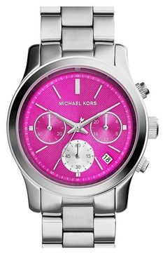 Free shipping and returns on MICHAEL Michael Kors Michael Kors 'Runway' Chronograph Bracelet Watch, 39mm at Nordstrom.com. A three-eye chronograph dial lends sporty, jet-setting style to a stylish bracelet watch saturated in matte color.