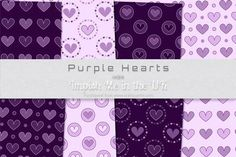 Purple Hearts by Irene Knight Purple Hearts is a set of eight A4 digital print quality paper backgrounds. Commercial use OK!