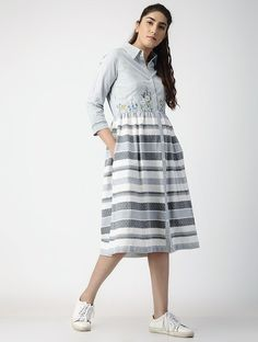 Buy OHAR Grey-Ivory Pleated Handwoven Organic Cotton Dress with Embroidery online Denim Ootd, 1 Piece Dress, Embroidery Online, Cute Spring Outfits, Kamiz, Designer Kurtis, Western Dresses, Belted Dress, Tunics