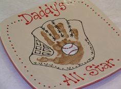 Great gift for that baseball-loving dad! Father's Day sample from Color Me Mine Voorhees, NJ. Daycare Crafts, Baby Crafts, Preschool Crafts, Crafts For Kids, Preschool Classroom, Fathers Day Art, Fathers Day Crafts, Memorial Day, Thumbprint Crafts