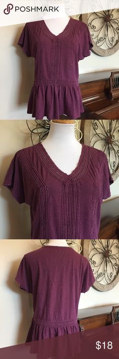 "🆕 Sonoma Size Large Peplum & Lace Plum Color Top New with Tags! Bust measures 19.5 across from armpit to armpit and Length is 23"" from top to bottom when laying flat. Sonoma Tops"