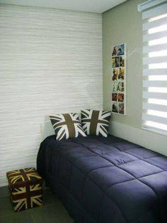 Quarto de um apartamento de 67 m². Projetado por Liane Martins.