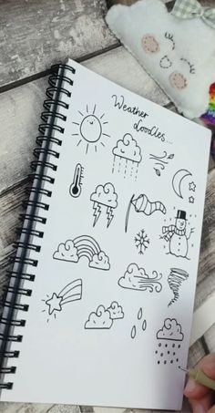 Weather Doodles So useful if you want to explain to somebody who's not speaking your language! Bullet Journal Banner, Bullet Journal Lettering Ideas, Bullet Journal Notebook, Bullet Journal School, Bullet Journal Ideas Pages, Bullet Journal Inspiration, Bullet Journals, Bullet Journal For Kids, Bullet Journal Mood Tracker Ideas