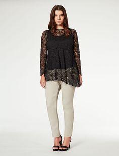 Marina Rinaldi FACILITA black: Sheer cotton lace blouse.