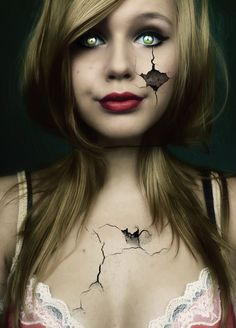 Beautiful Broken Doll Halloween Makeup